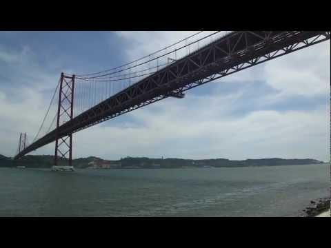 Ponte 25 de Abril by the Docks with Cristo Rei [Lisbon 2012 Videos 9/33]
