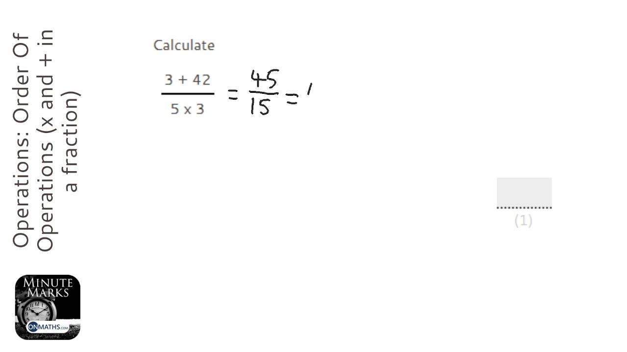 Operations: Order Of Operations (x and + in a fraction