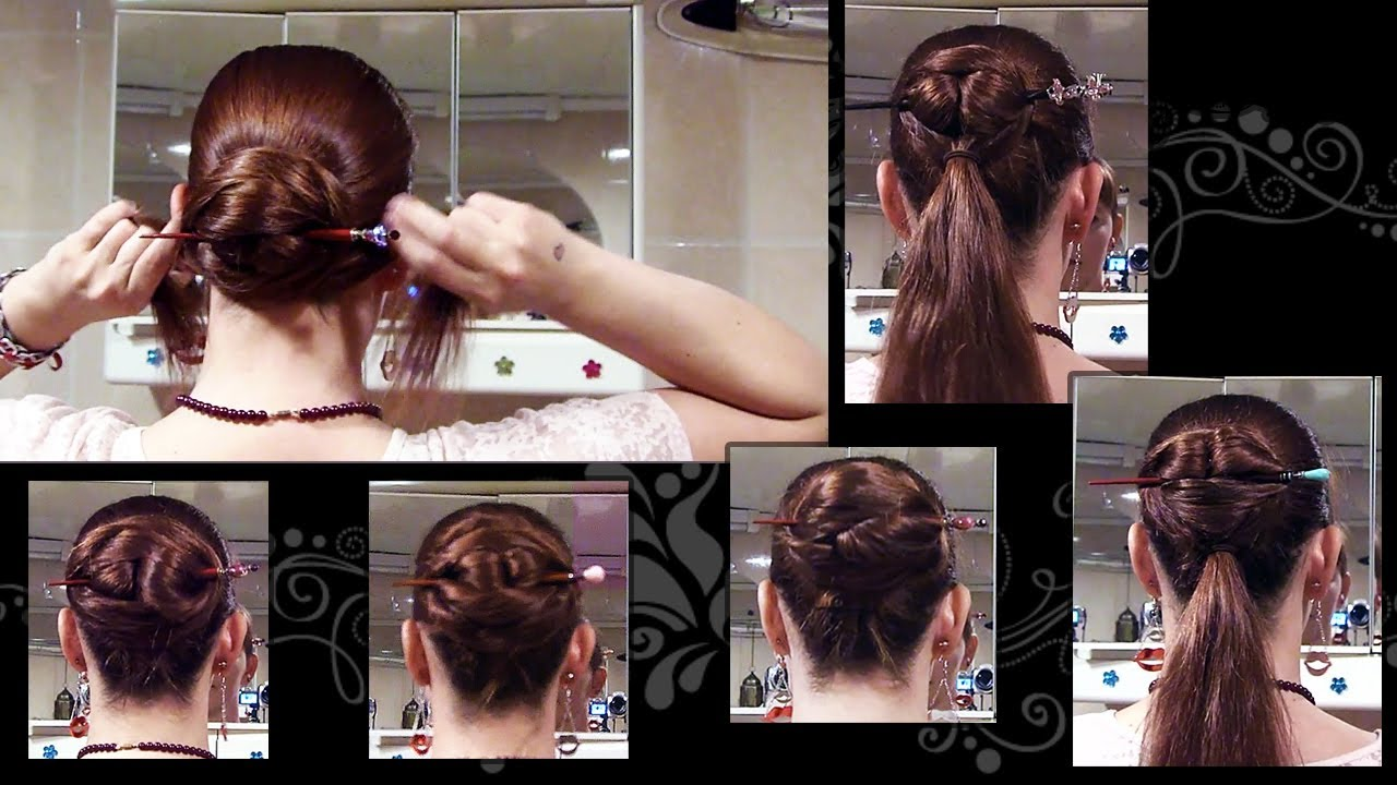 5 Ways To Do A Chinese Bun Long Hair Updo With Hair Stick Youtube