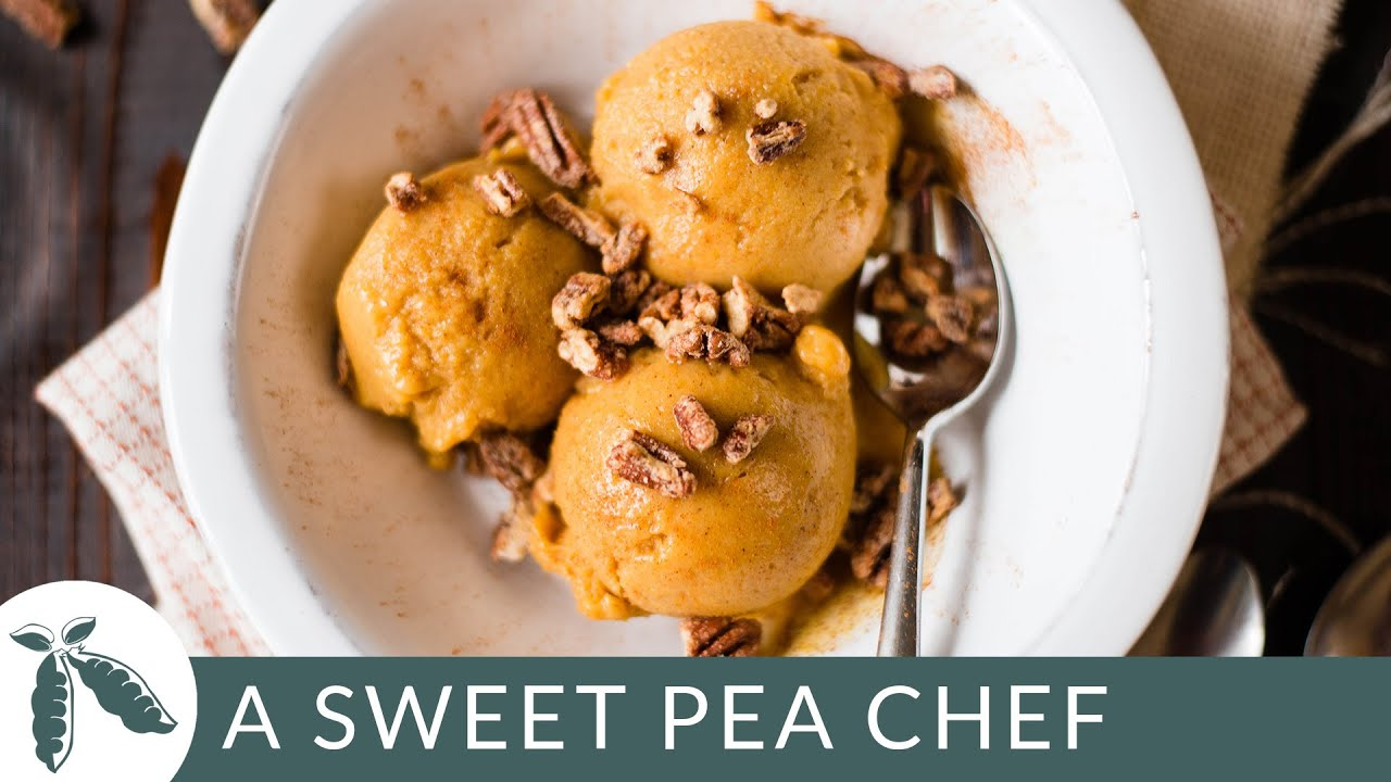Pumpkin Frozen Yogurt With Candied Pecans | A Sweet Pea Chef - YouTube