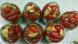 Вкусные консервированные помидоры с кабачками.Простой и надёжный рецепт. Заготовки на зиму.