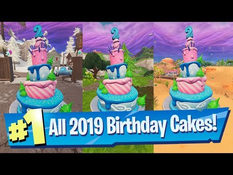 Dance In Front Of Different Birthday Cakes ALL Locations 2019 - Fortnite 2nd Birthday Challenge