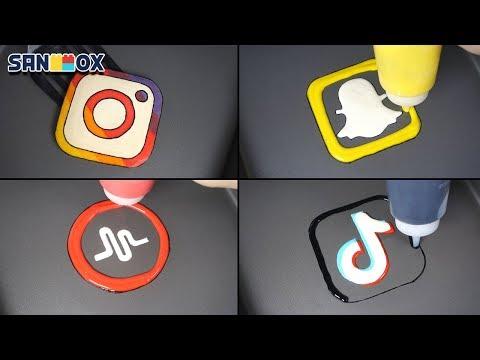 Social Media & Popular Apps Pancake art - Instargram, Snapchat, Tik Tok, Musical.ly, WhatsApp