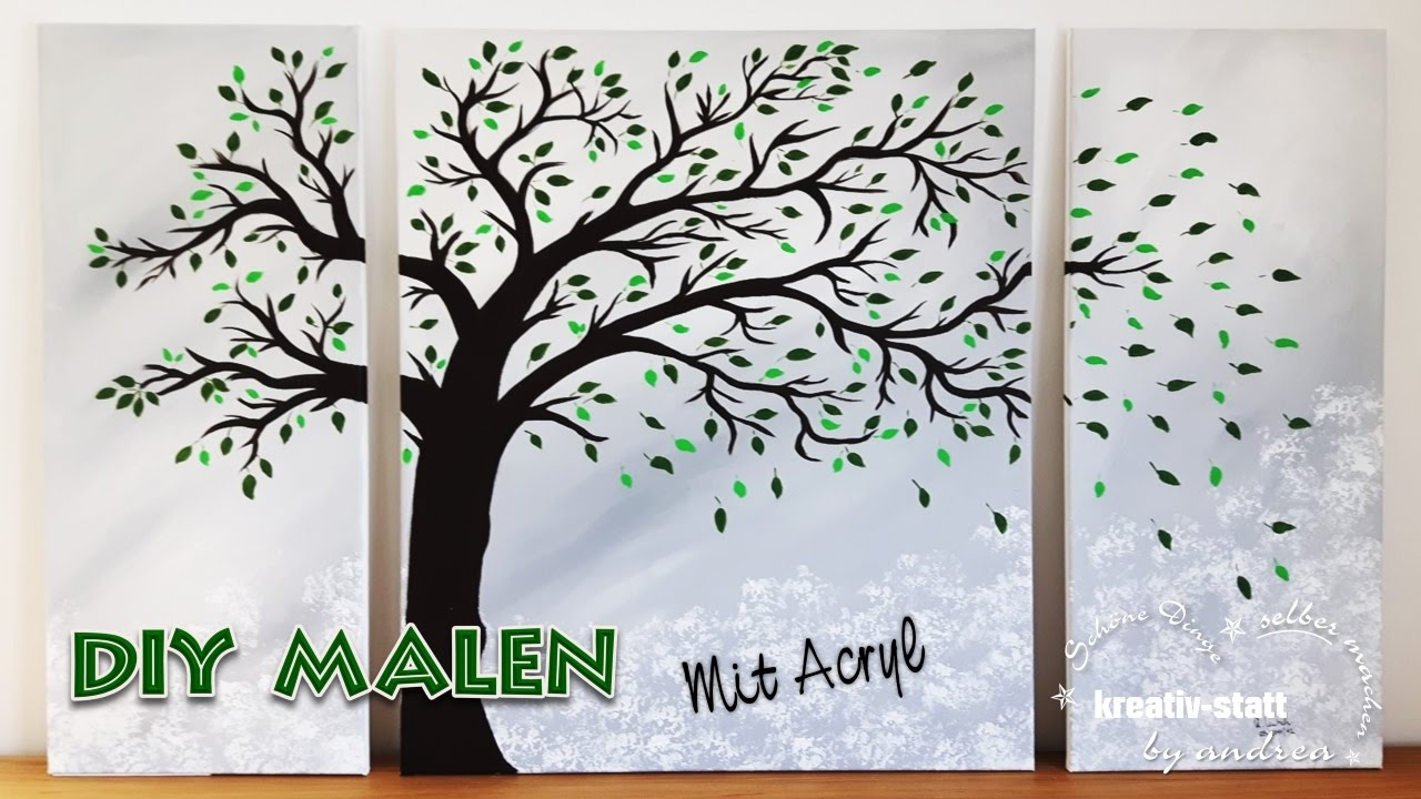 Diy Painting Acrylic Tree In The Wind Trunk Branches Leaves Modern How To