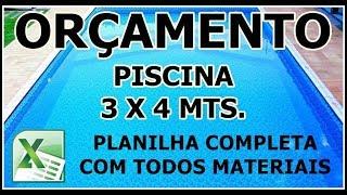 PISCINA DE ALVENARIA, ORÇAMENTO PARA CONSTRUIR TAMANHO 3 X 4