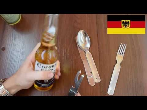 Review of German army Bundeswehr eating utensil set. Bundeswehr Essbesteck 4-Teilig