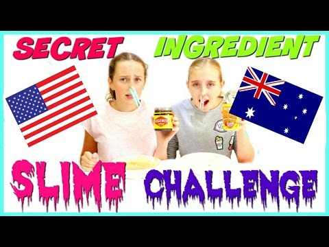 SECRET INGREDIENT DIY SLIME CHALLENGE - Americans vs Australians - With The CraftyGirls