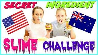 SECRET INGREDIENT DIY SLIME CHALLENGE - AMERICAN VS. AUSTRALIAN - With The CraftyGirls