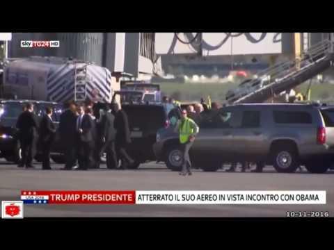 Donald Trump con la consorte atterra a Washington per incontrare Barack Obama alla Casa Bianca