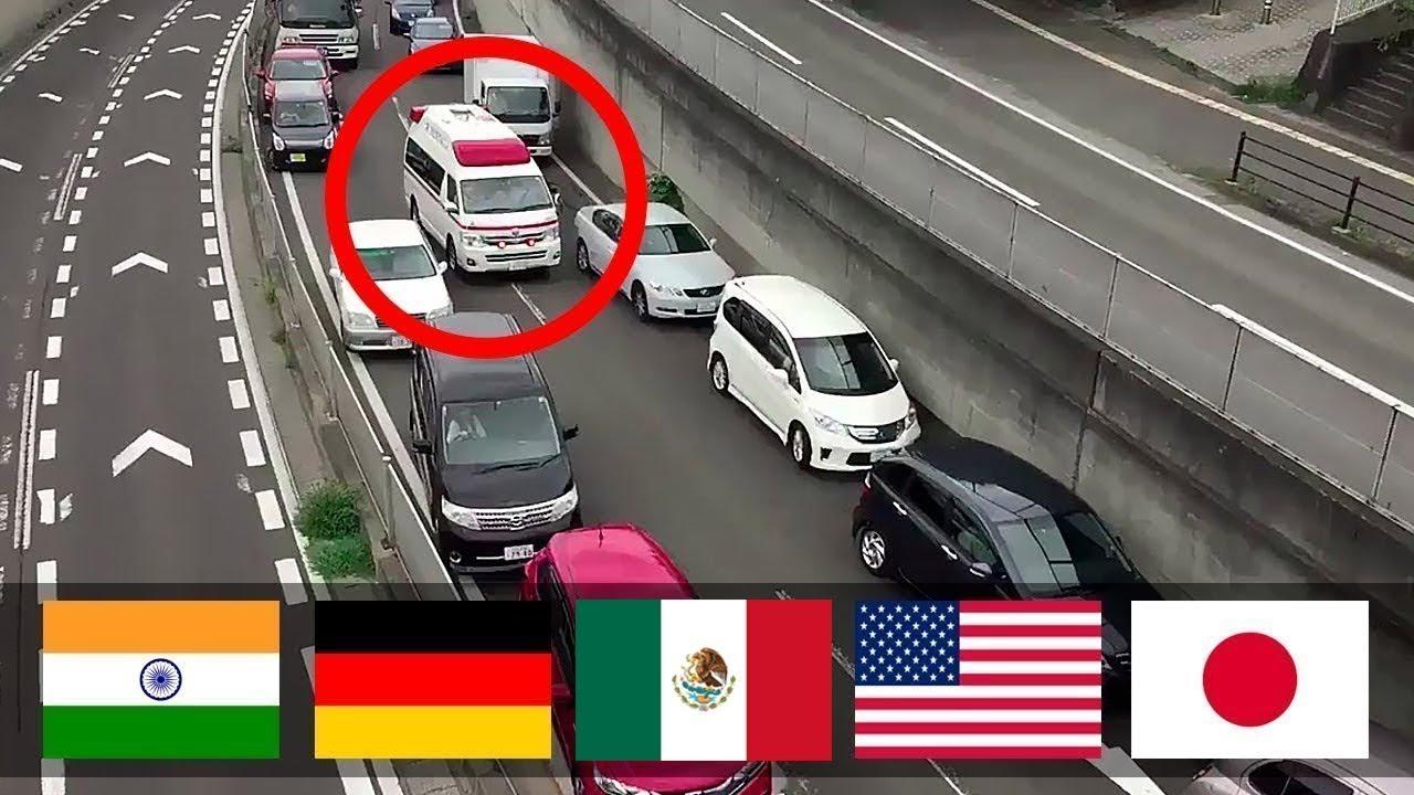 ⛔Cuando pasa una ambulancia ¿Cómo reaccionan los coches en diferentes países?🚑