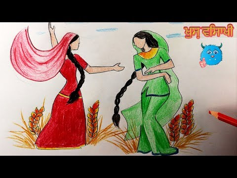 How to Draw Baisakhi Festival Drawing of Bhangra Dance for Kids in Details Easy
