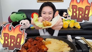 BEST HOMEMADE KBBQ SPICY CHICKEN W/ CHEESE MUKBANG