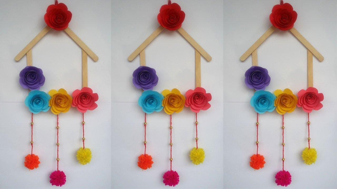 DIY: Ice cream Stick Crafts!!! How to Make Wall Hanging ...