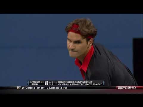 60FPS Roger Federer vs Simon Greul US Open 2009