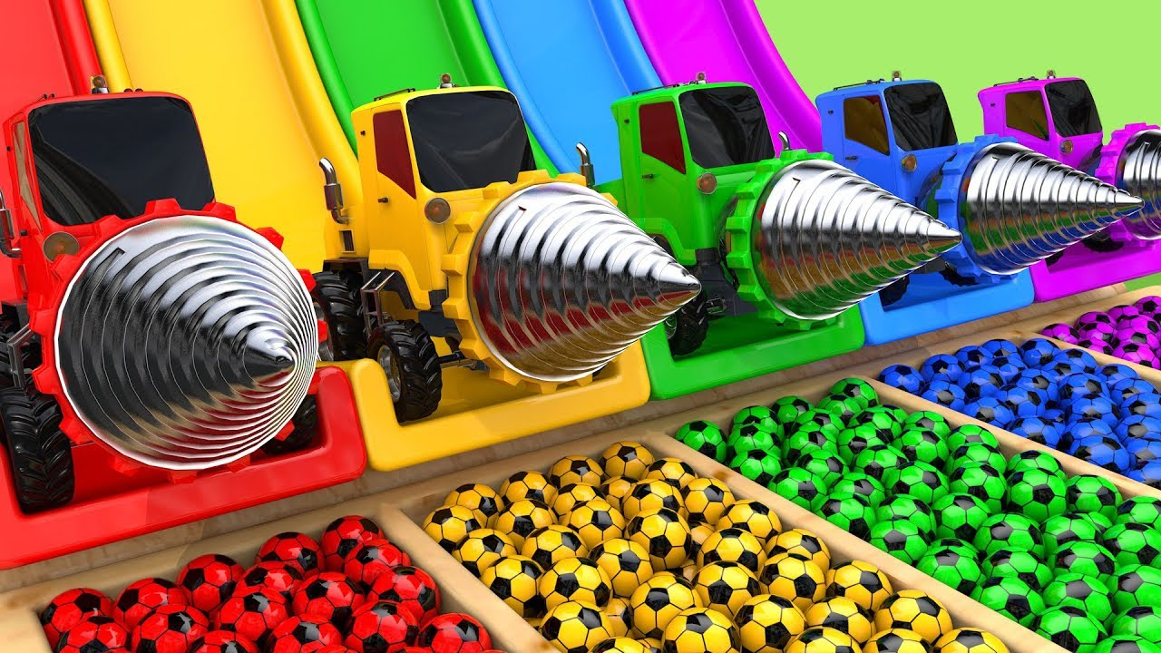 Download Drill Construction Vehicles Toy Assembly Car VS School Bus Soccer Ball with Learn Colors for Kids