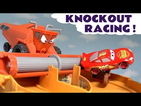 Cars Lightning McQueen Knockout Races With Escape From Frank And Hot Wheels Track Sets TT4U