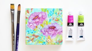 How to Paint Abstract Flowers - Abstract Flowers Demo with Royal & Langnickel