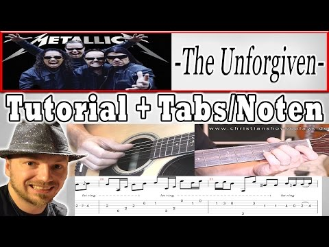"★Metallica THE UNFORGIVEN Akustik Guitar Lesson ""Schönes Anfänger Lied""+Tabs/Chords"
