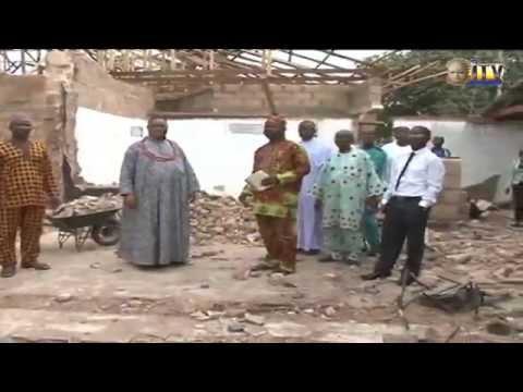 Esama of Benin inspects on-going reconstruction work on burnt ITV/radio studio