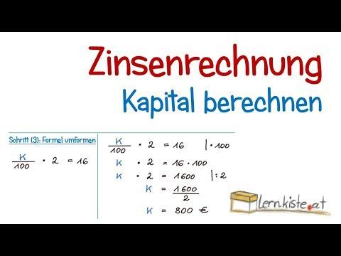 Zinsenrechnung - Berechnung Des Kapitals
