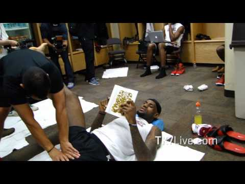 LeBRON JAMES READING BOOK PRE GAME 1 NBA FINALS 2012