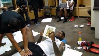 LeBRON JAMES READING BOOK PRE GAME 1 NBA FINALS 2012