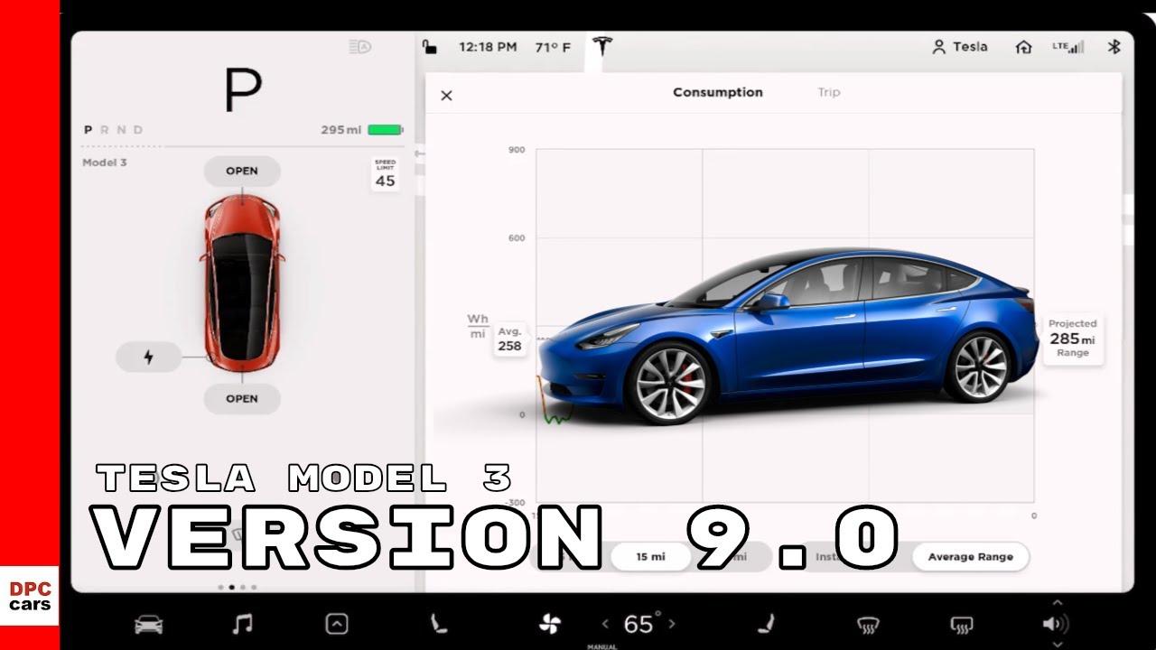 Tesla Model 3 Software Version 9.0 V9 - YouTube
