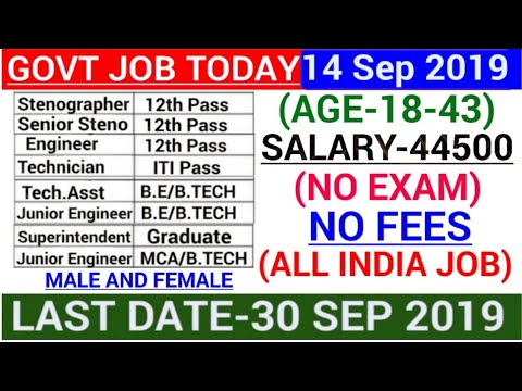 Govt jobs in Sep 2019 Govt jobs September 2019 Latest Govt jobs 2019