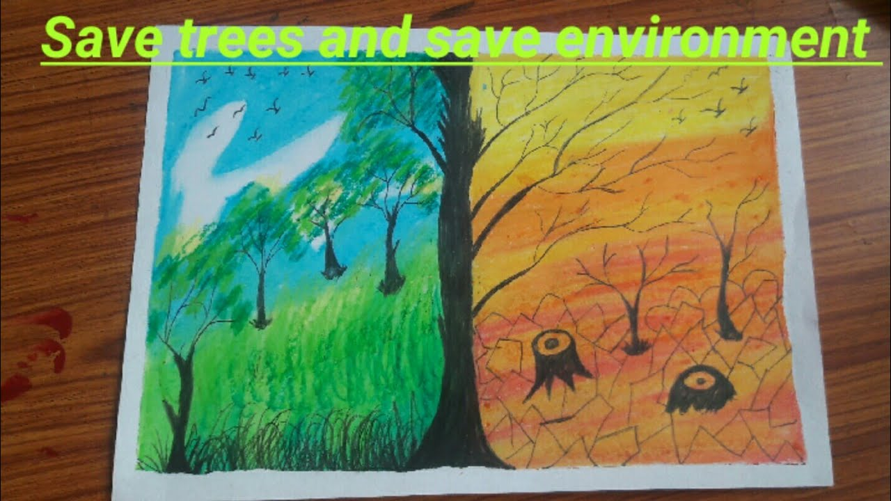 How to draw save tree drawing school project using oil pastel colour || save Environment ||