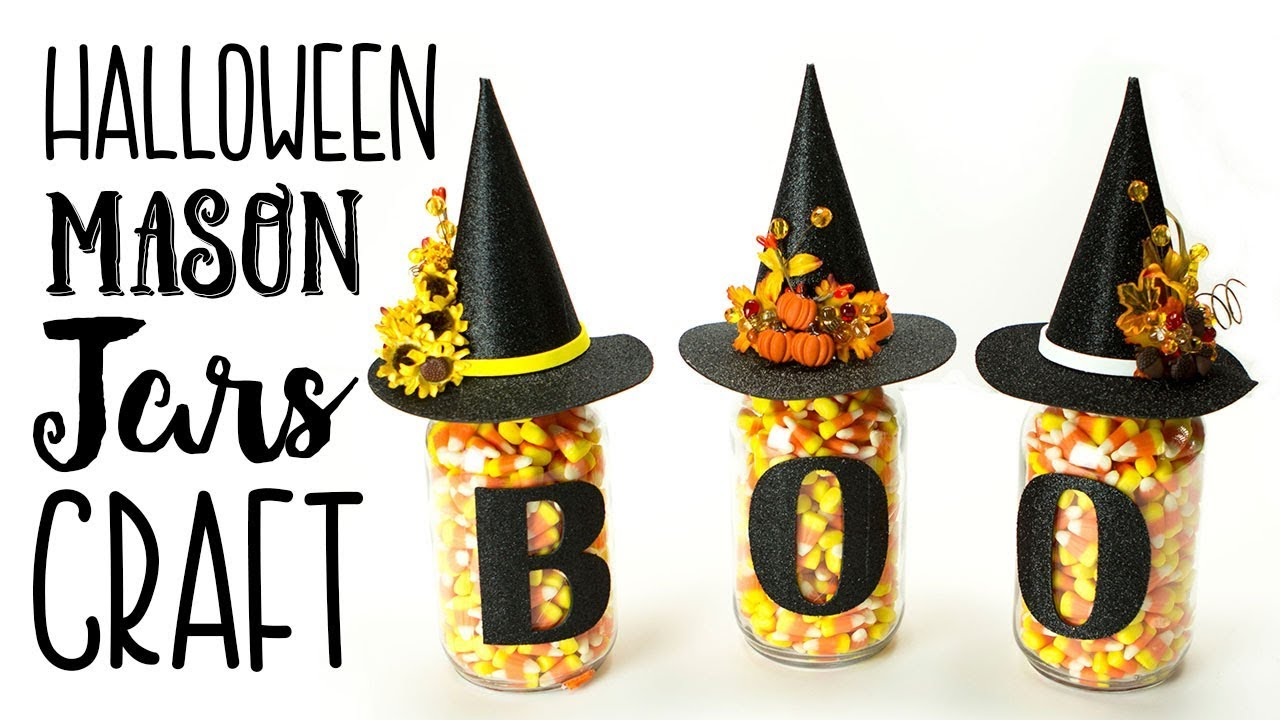 halloween mason jars craft (easy) - youtube