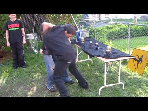 fat man thrown through shed backyard wrestling beatdown