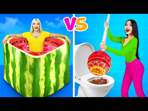 LARGE FOOD vs MINIATURE FOOD Challenge! || Crazy Cooking Battle for 24 Hours by RATATA
