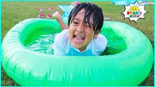 Ryan plays and slide in the slime Pool!!!
