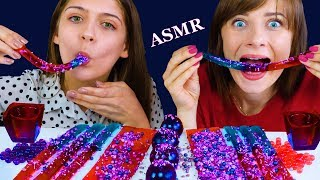 MOST POPULAR FOOD FOR ASMR GALAXY JELLY SHEET, STRAWS, BALLS, POPPING BOBA MUKBANG 먹방