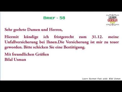 German Brief 58 A1 A2 B1 B2 C1 C2 Youtube
