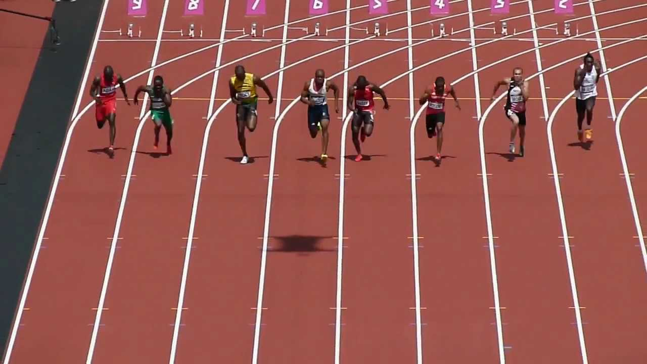 London 2012 - 100m Vorlauf mit Usain Bolt - YouTube