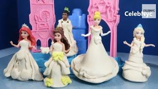 Play Doh Magiclip Princess spring Wedding bride dress  Disney Ariel, Tiana, Cinderella, Elsa, Belle
