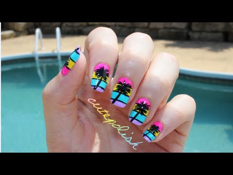 California palm tree nail art youtube california palm tree nail art prinsesfo Choice Image