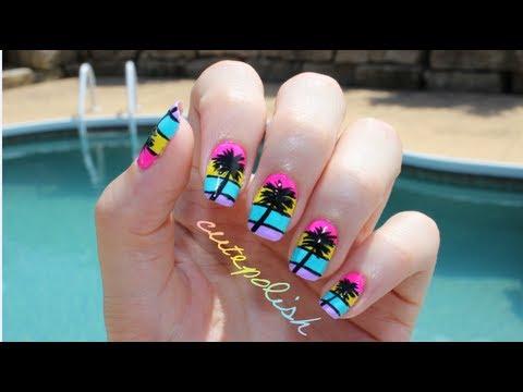 California Palm Tree Nail Art - YouTube
