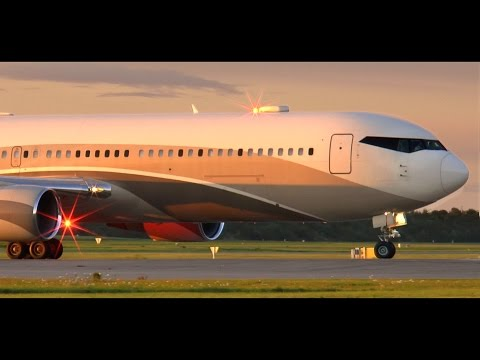 Roman Abramovich Boeing 767-300 VIP - Sunset Takeoff at Copenhagen Airport