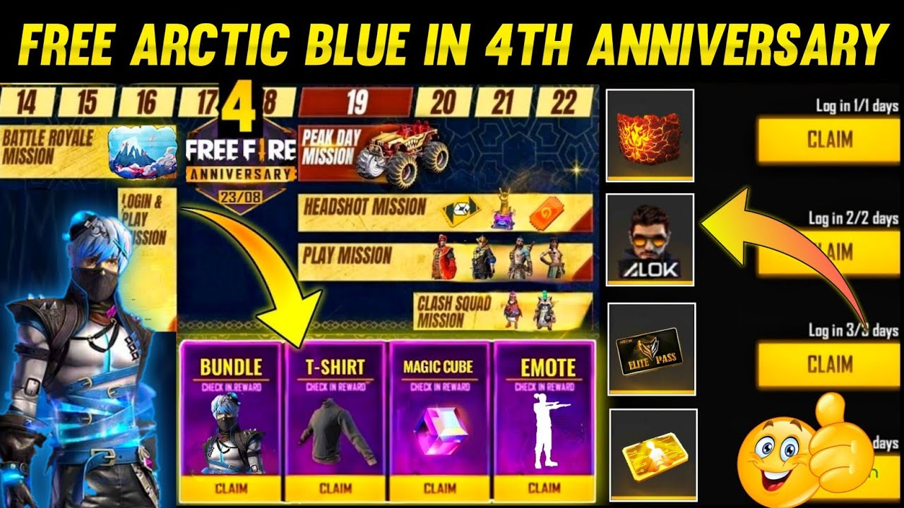 Free Arctic Blue Bundle In 4th Anniversary Event | Free Fire New Event | Free Fire New Update |