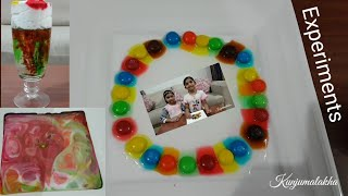 Experiments :-M&M's rainbow colorful  experiment,milk science experiment,shaving cream rainbow cloud
