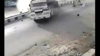 Bus Accident Caught on CCTV Camera  Plz Ride Safe