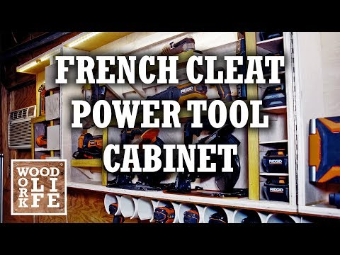 How to Build a French Cleat Power Tool Cabinet & Charging Station | Builds