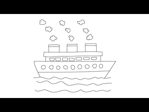 How To Draw A Ship Easy Step By Step Drawing Lessons For Kids