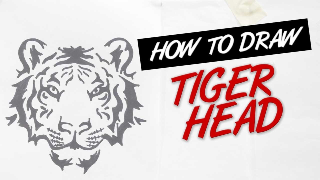 How To Draw Tiger Head Tribal Tattoo Design Ep 138 Youtube