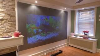 50 LUMENS 720p pocket projector , 9FT in a fully lit room luminous deep silver 4K blackout cloth