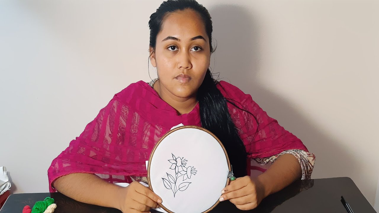 Hand embroidery 3D flower embroidery design#@Nakshi Katha