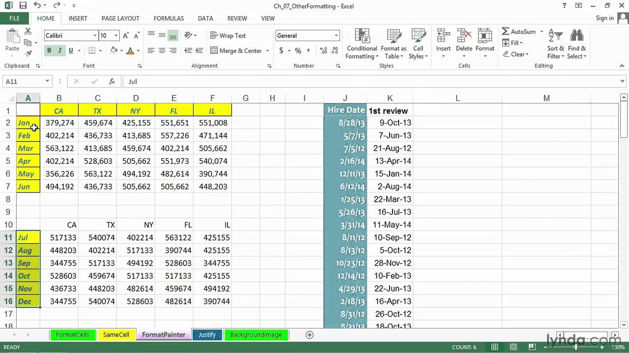 Excel tutorial: How to copy cell formats | lynda com