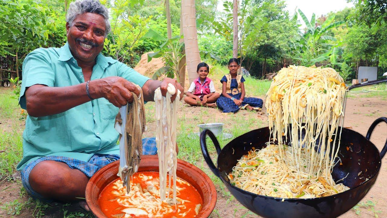 BOTI NOODLES | Goat Intestine Noodles Cooking by Daddy | Village Boti Noodles | Farmer Cooking